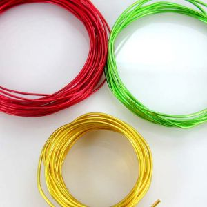 Plastic coated aluminium wire.